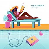 Woman Sits On A Sun Lounger And Controls A Robot That Cleans The Bottom Of The Pool Of Dirt. Domesti poster