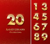 20 Golden Numbers And Anniversary Celebrating Text On Red Background. Vector Vertical Anniversary Ce poster