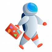 Travel Bag Astronaut Icon. Cartoon Of Travel Bag Astronaut Vector Icon For Web Design Isolated On Wh poster