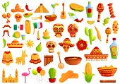 Mexico Icons Set. Cartoon Set Of Mexico Vector Icons For Web Design poster