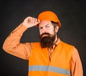 Professional Male Engineer. Civil Construction, Builder, Architect, Worker. Construction Worker In H poster