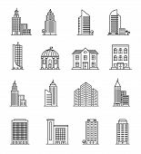 Line Buildings. Urban Architecture, Skyscrapers. Hotel, University And Bank, City Library Line Art D poster