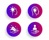 Idea Head, Idea And Skin Care Icons Simple Set. Halftone Dots Button. Recruitment Sign. Lightbulb, P poster