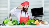 Culinary School. Hipster In Hat And Apron Buy Products Online. Shopping Online. Man Chef Searching O poster