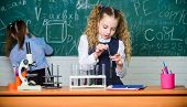 Lab Microscope And Testing Tubes. Little Children. Science. Biology Experiments With Microscope. Che poster