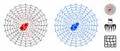 Spider Net Mosaic Of Small Circles In Different Sizes And Color Tones, Based On Spider Net Icon. Vec poster