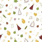 Christmas Holiday Seamless Vector Pattern. Doodle Santa Hats, Christmas Tree, Balls, Star, Candy, Mi poster