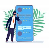 Reviews Concept. Man Watching Online Feedback. Mobile Review, Customer Quality Form Vector Illustrat poster