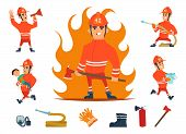 Firemen And Equipments. Fireman Profession Working. Cartoon Tools, Children And Fire, Hose And Hydra poster