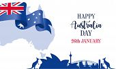 Happy Australia Day. Australia National Day With Australia National Flag And Lettering poster