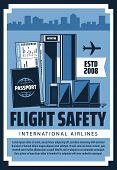 Air Travel And Tourism, International Airport Flights Safety, Passports, Customs And Security Contro poster