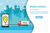 Fast And Free Delivery. Delivery Truck With Cardboard Box On Mobile Phone And City Background.online poster