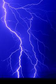picture of lightning bolt  - Time exposure of Lightning Bolt Strikes at night - JPG