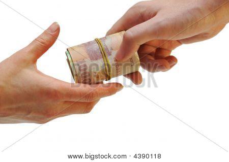Man Hand Passes Money To Woman Hand