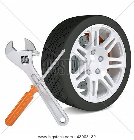 Wheel, wrench and a screwdriver