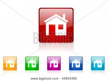 home square web glossy icon colorful set