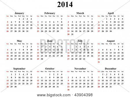 simple calendar 2014 on white background