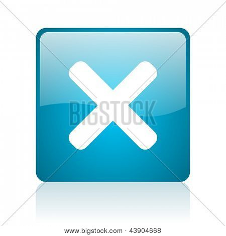 cancel blue square web glossy icon