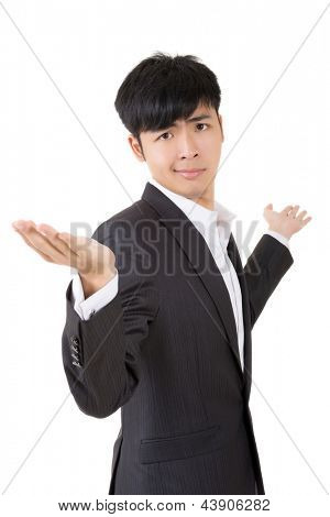 Businessman give you a gesture of unsure, closeup portrait on white background.