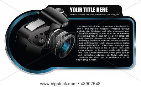 Elemento de fondo negro vector con cámara realista para folleto o tienda
