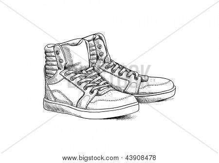 Shoes on white background in sketch style