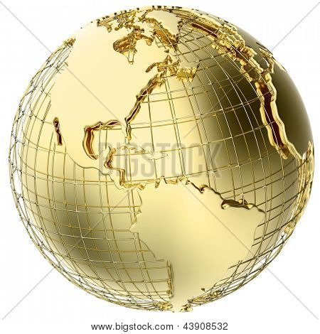 Earth in solid gold isolated on white (3d mesh map derived from NASA source map - http://visibleearth.nasa.gov/)