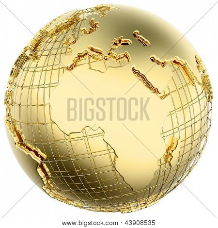 Earth in solid gold (Africa/ Europe) isolated (3d mesh derived from NASA map - http://visibleearth.nasa.gov/)