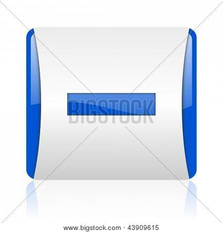 minus blue square web glossy icon