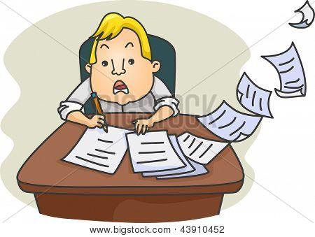 Illustration of a Cramming Businessman Writing and Working Fast