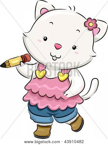 Illustration of a Cat holding a Pencil