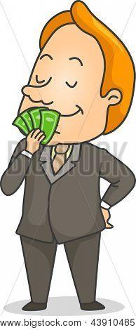 Illustration of a Businessman Smelling Money