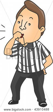 Illustration of a male referee blowing whistle