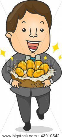 Illustration of a Happy Businessman holding a Nestful of Golden Eggs