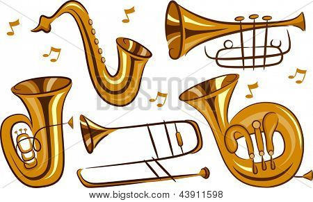 Illustration of Wind Musical Instruments in white background
