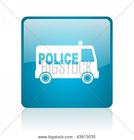 police blue square web glossy icon