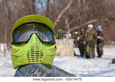 Photo protective mask for paintball game on a spring sunny day outdoor