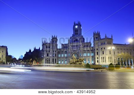 Post Office Building and fountain at Cibeles Square at morning in Madrid, Spain.
