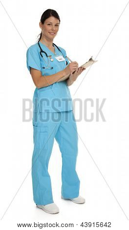 Full length photo of attractive young nurse wearing blue scrubs on white background.