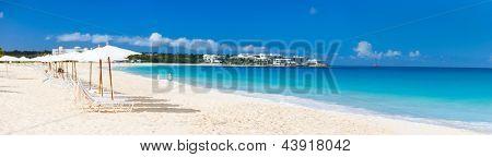 Panorama of a beautiful beach on Anguilla island, Caribbean