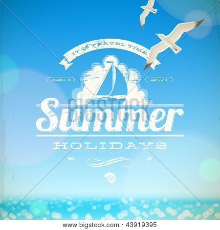 Summer holidays vector emblem and seagulls against a sunny seascape background