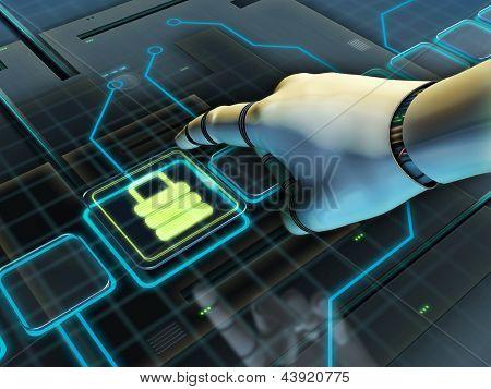Robotic hand pressing a lock button. Digital illustration.