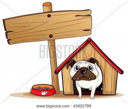 Ilustração de uma tabuleta ao lado de uma casinha de cachorro com um cão