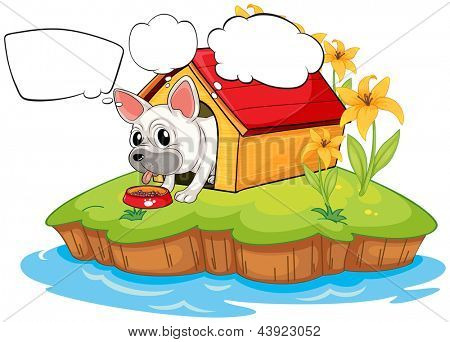 Illustration of a dog in the island with empty callouts on a white background