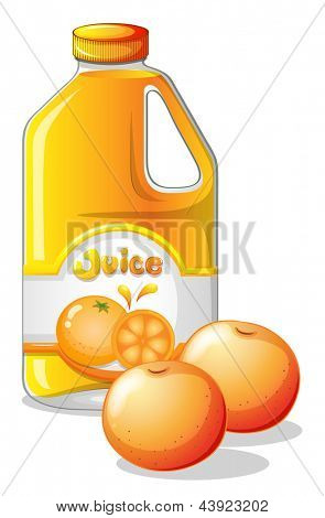 Illustration of a gallon of orange juice on a white background