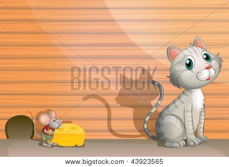 Illustration of a cat and a rat with cheese