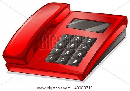 Illustration of a red telephone on a white background