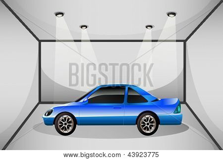 Illustration of a blue tinted car inside the garage