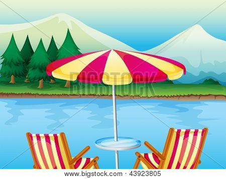 Illustration of a beach umbrella with chairs
