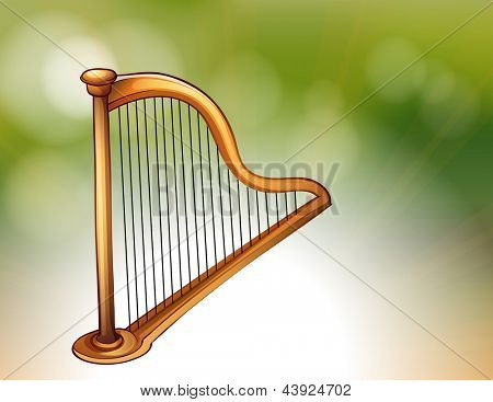 Illustration of a golden harp