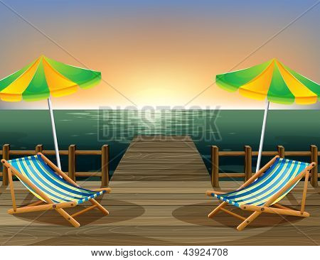 Illustration of the beach umbrellas and the foldable chairs at the bridge